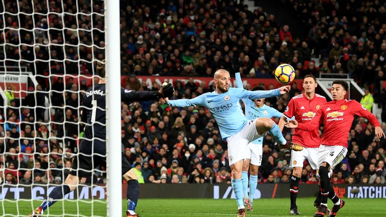 David Silva netted at Old Trafford in last year's derby