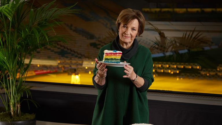 Delia Smith has utilised her legendary cake-baking skills for the Rainbow Laces campaign