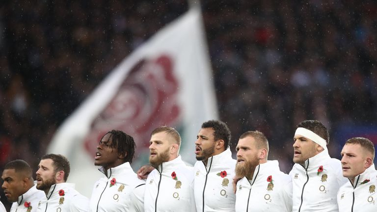 The England team line up prior to the Quilter International match between England and New Zealand at Twickenham Stadium on November 10, 2018 in London, United Kingdom.