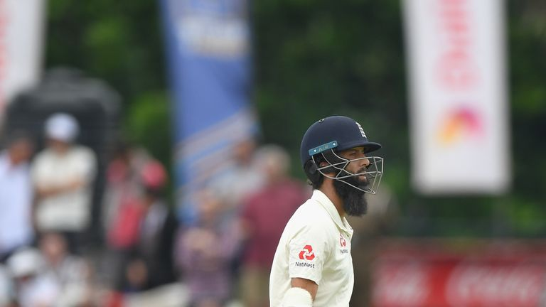 Moeen Ali was out for a golden duck as England's top order slumped in Galle