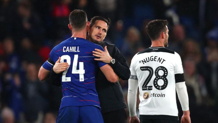 Frank Lampard and Gary Cahill embrace after the match