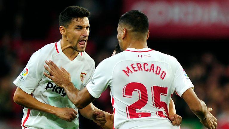 Gabriel Mercado celebrates his goal for Sevilla