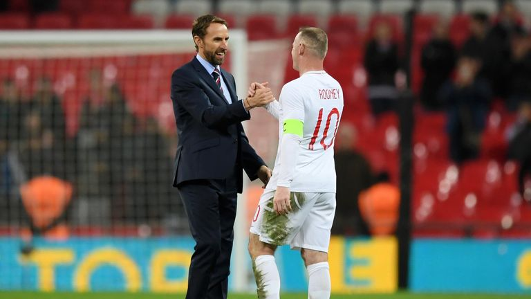 Gareth Southgate congratulates Wayne Rooney at full time in the USA friendly