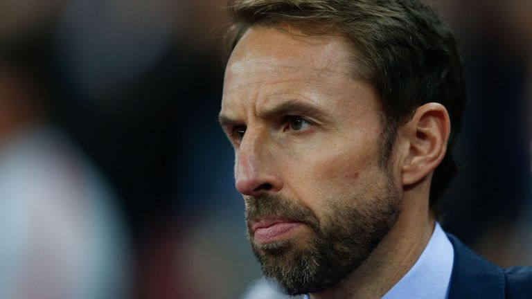 Gareth Southgate watches on during England v USA
