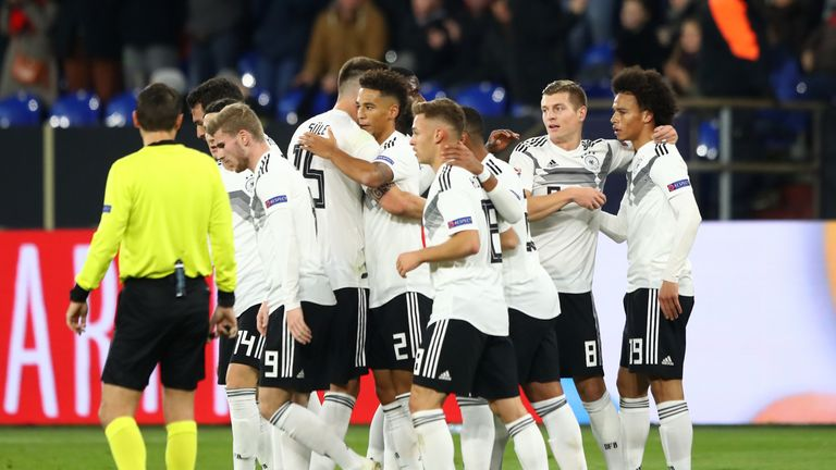 Germany celebrate Leroy Sane's goal