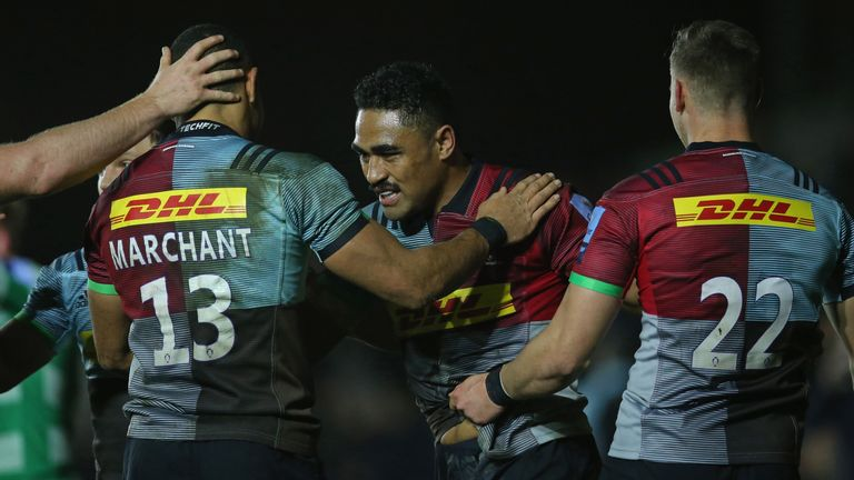 Francis Saili was one of the try scorers in Harlequins' win against Newcastle