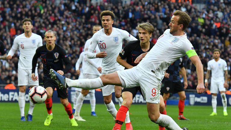 Harry Kane scores England's winning goal at Wembley