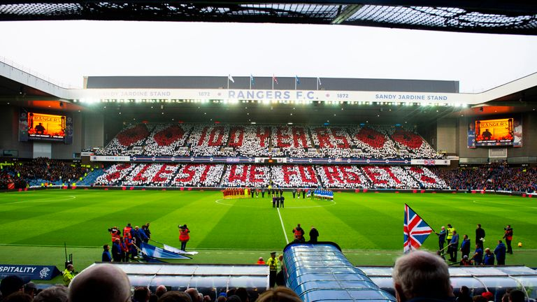 Rangers pay their respects at Ibrox on Armistice Day ahead of the game with Motherwell