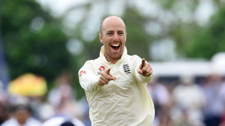 Jack Leach celebrates a wicket