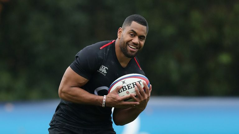 Joe Cokanasiga looks on during the England captain's run at Pennyhill Park on November 16, 2018 in Bagshot, England