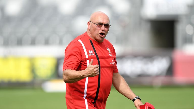 Wales coach John Kear shouts orders during  practice