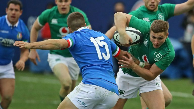 Jordan Larmour scored a hat-trick of tries for Ireland