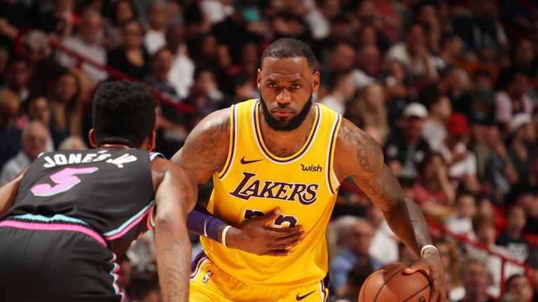 LeBron James enjoyed his best night as a Laker against the Heat