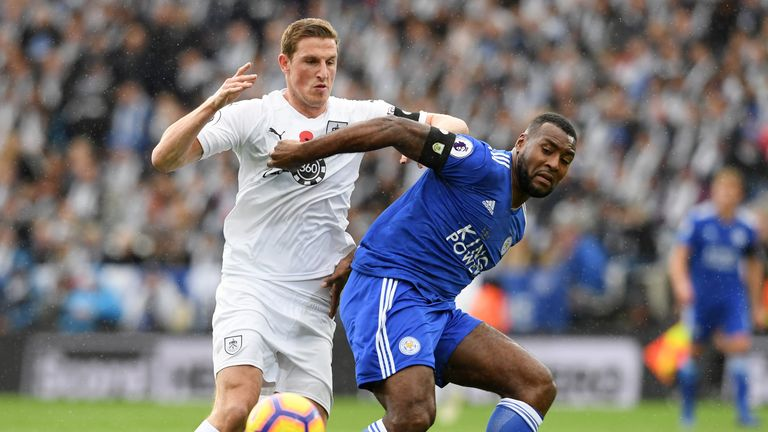 Chris Wood tussles with Wes Morgan in the reverse fixture this season