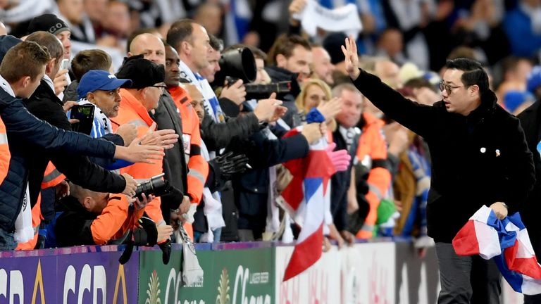 Aiyawatt Srivaddhanaprabha gave his thanks to the Leicester City fans after the 0-0 draw with Burnley