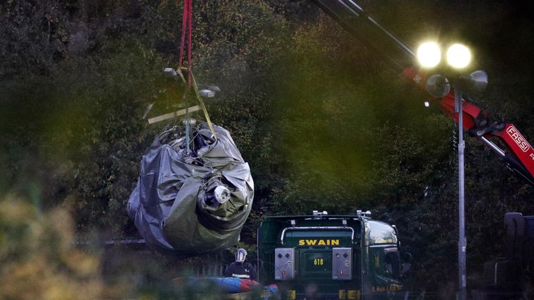 Work began on clearing the helicopter wreckage on Thursday