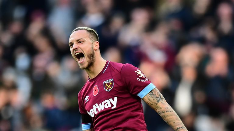 Marko Arnautovic celebrates putting West Ham ahead against Burnley