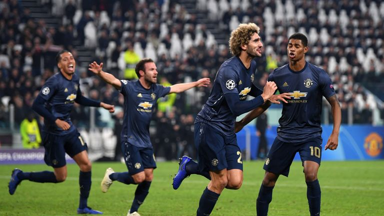 Marouane Fellaini was brought on with 11 minutes remaining in Manchester United's memorable 2-1 win at Juventus