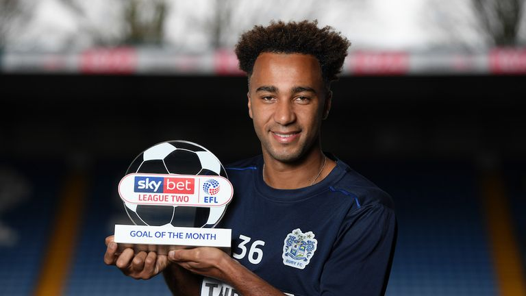 Nicky Maynard of Bury wins the Sky Bet League Two Goal of the Month award for November