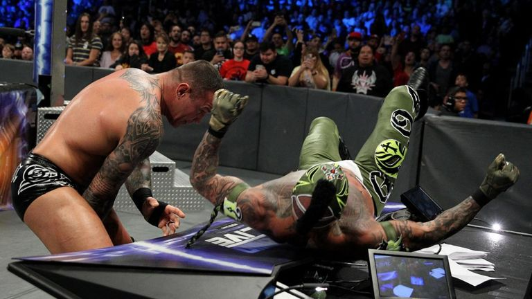 Randy Orton delivered another vicious beating to Rey Mysterio