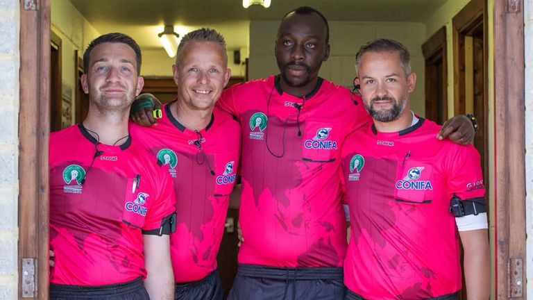 Raymond with his fellow CONIFA referees during the World Football Cup