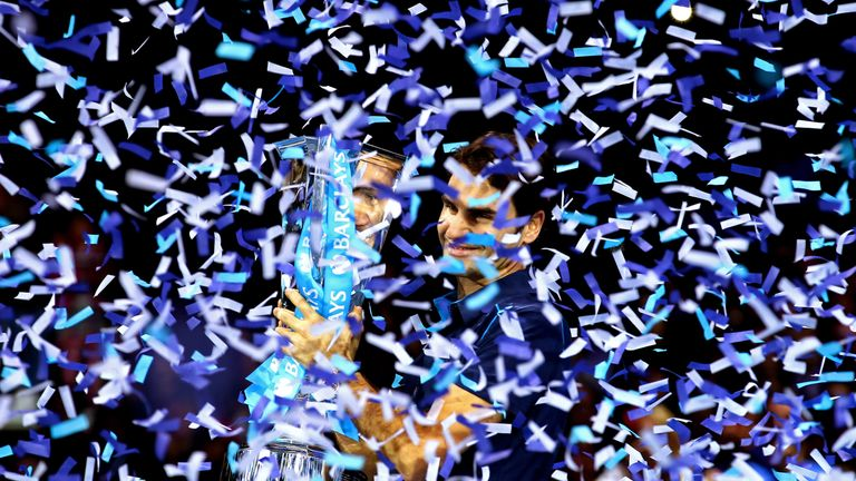 Federer lifting the ATP Finals trophy back in 2011