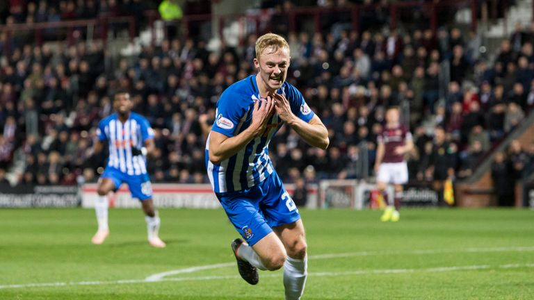 Kilmarnock's Ross Millen celebrates his winner against Hearts at Tynecastle Park earlier this month