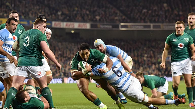 Bundee Aki scores in Ireland's home win over Argentina