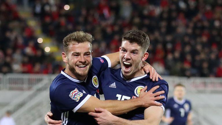 Scotland's Ryan Fraser (left) celebrates his opening goal against Albania with Ryan Christie