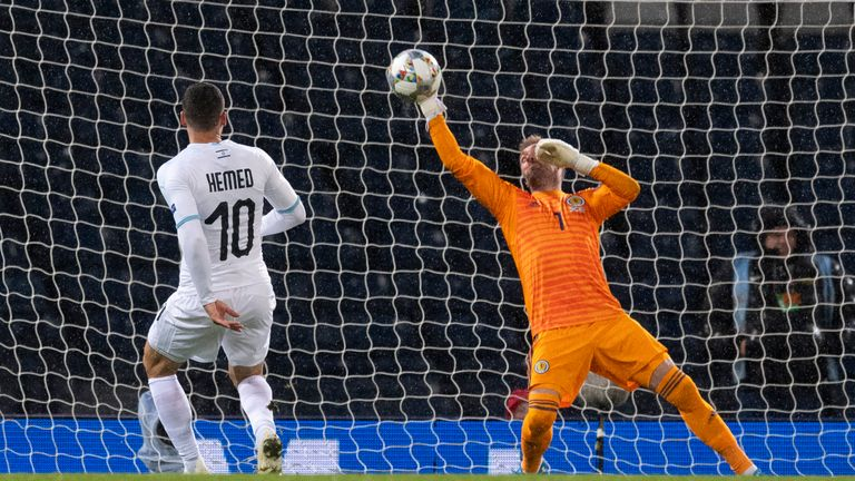 Scotland's Allan McGregor pulls off a late save to deny Israel's Tomer Hemed