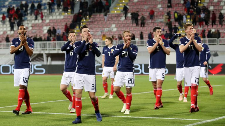 Scotland players react after the final whistle in Albania