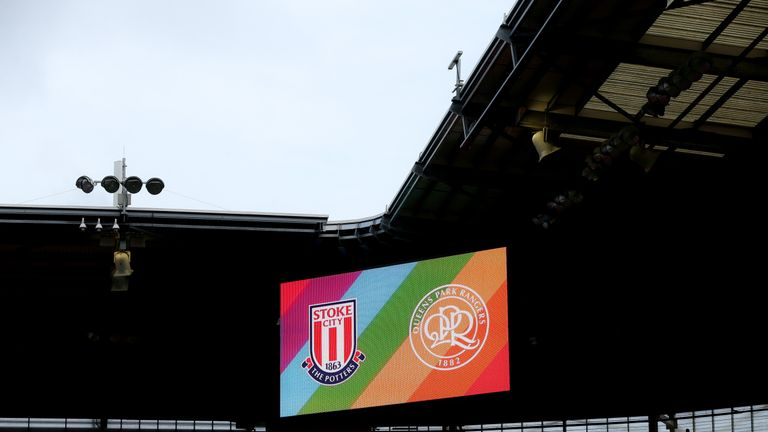 The Britannia Stadium gave a rainbow welcome to fans at the Stoke City vs QPR match in the Championship