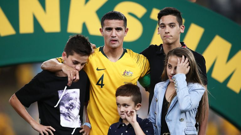 Tim Cahill appeared on stage with his family after the friendly