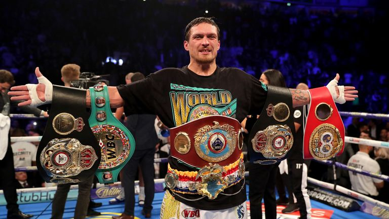 Oleksandr Usyk held the WBO cruiserweight belt among his four titles
