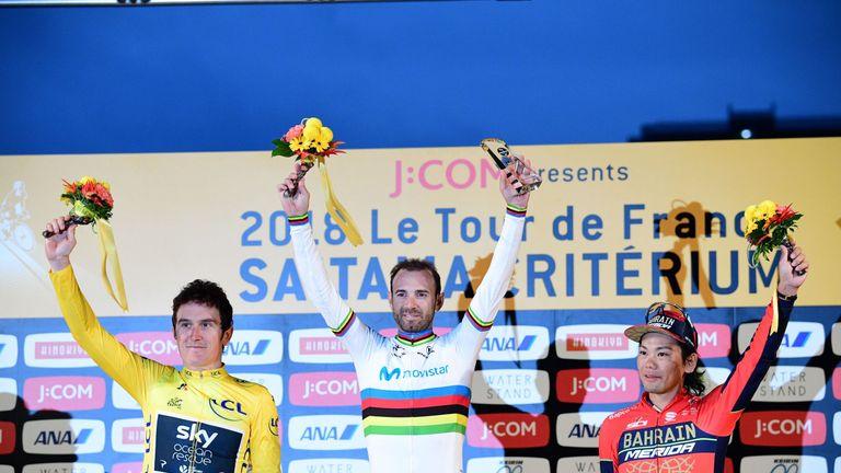 Valverde celebrates alongside Thomas and Yukiya Arashiro