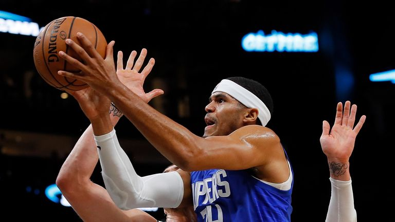 Tobias Harris attacks the basket against Atlanta