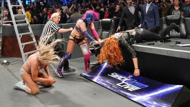 The match between Asuka and Charlotte Flair descended into a three-way brawl which also involved SmackDown champion Becky Lynch