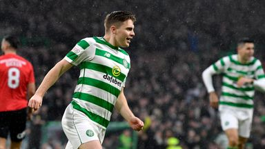 James Forrest turns away to celebrate his opener for Celtic