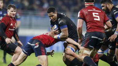 Castres' Mathieu Babillot runs at the Munster defence
