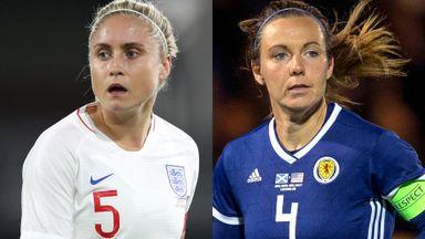 England's Steph Houghton and Scotland's Rachel Corsie