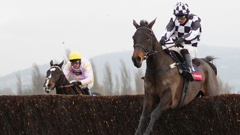 Sean Bowen riding Drovers Lane clear the last to win the Ryman Novices' Chase at Cheltenham