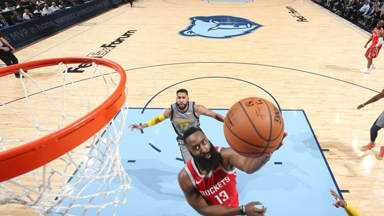 Harden attacks the basket against Memphis