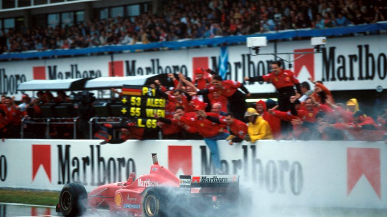 And what a victory it was. In atrocious wet conditions, Schumacher left the field in his wake, lapping up to four seconds faster at times, to win by 45 seconds. 1996 had its low moments for Ferrari, but this was jaw-dropping from their new star.