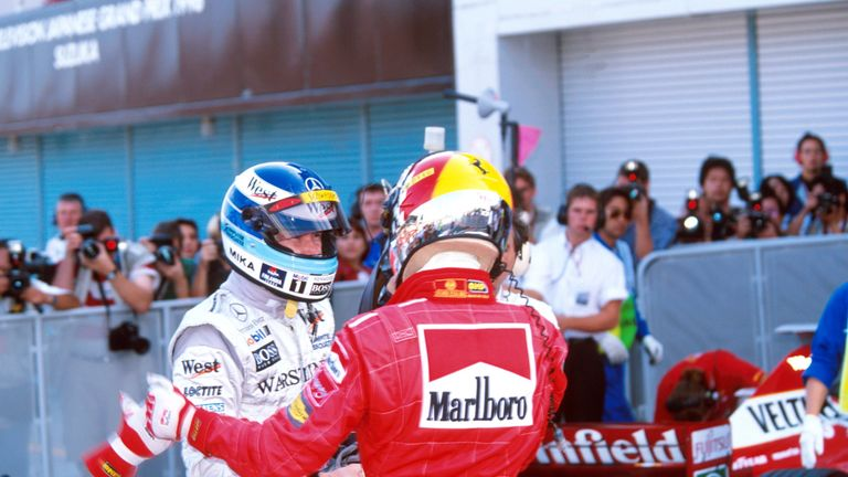 Schumacher's second title decider with Ferrari but his second defeat as stalling on the grid at Suzuka effectively handed the title to points leader Mika Hakkinen. A spirited charge from the back of the field then ended with a puncture.