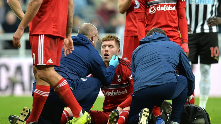 Alfie Mawson got caught by his own goalkeeper during the first half