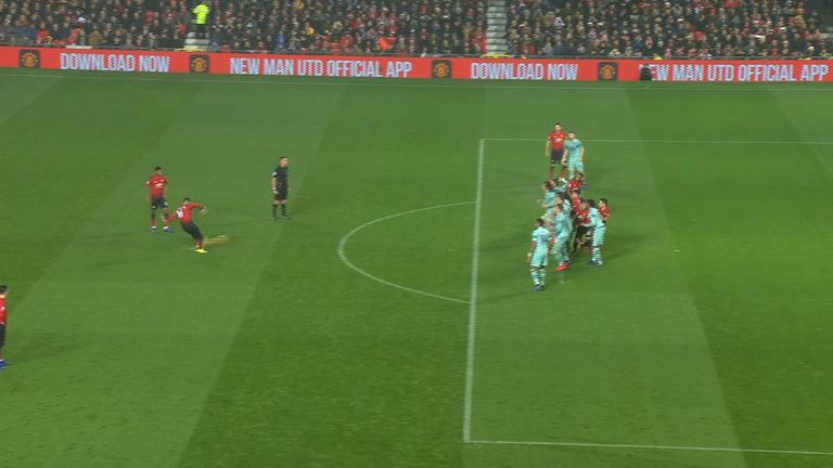 Was Ander Herrera offside when the free-kick was taken that led to Anthony Martial's goal?