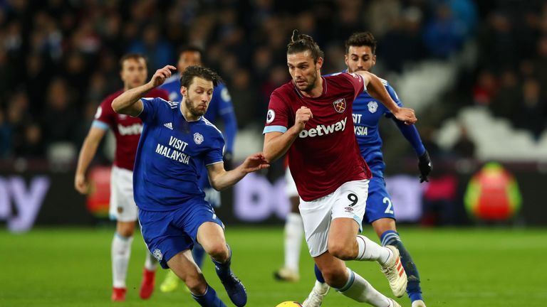 Andy Carroll came on in the second half of the midweek win over Cardiff