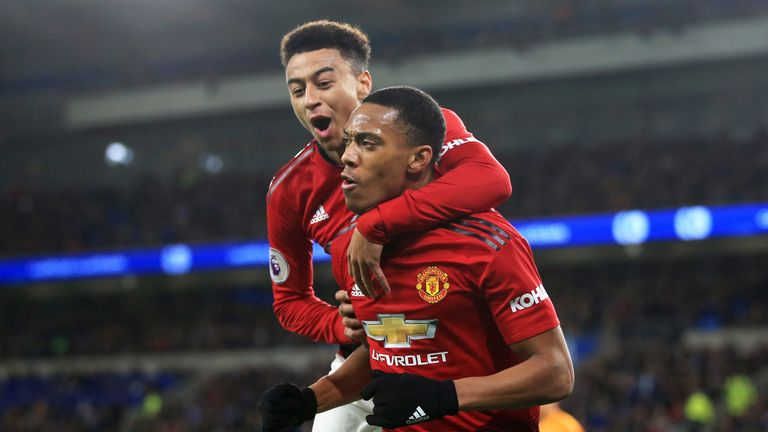 Anthony Martial celebrates his goal with Jesse Lingard