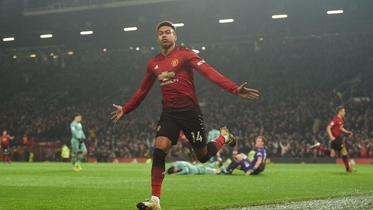 Lingard celebrates his equaliser against Arsenal in Manchester United's 2-2 draw at Old Trafford