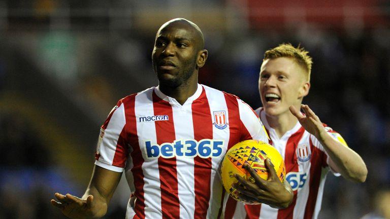 Benik Afobe celebrates scoring for Stoke in the draw at Reading